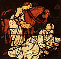 Stained glass scene showing a midwife assisting at a birth